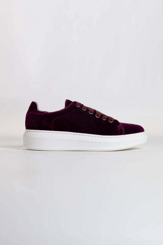 Sneakers Terciopelo granate | Miboheme