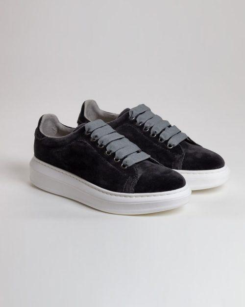 Sneakers Terciopelo gris rotada | Miboheme