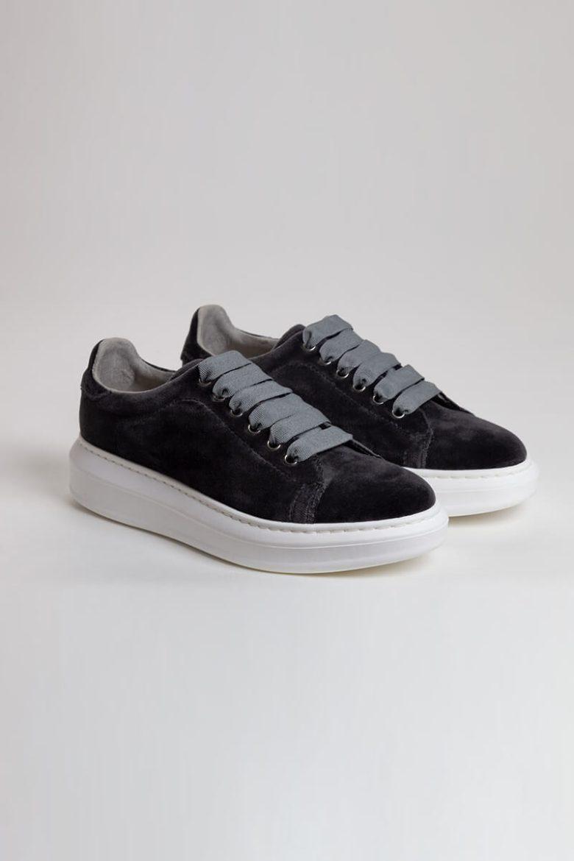 Sneakers Terciopelo gris rotada   Miboheme