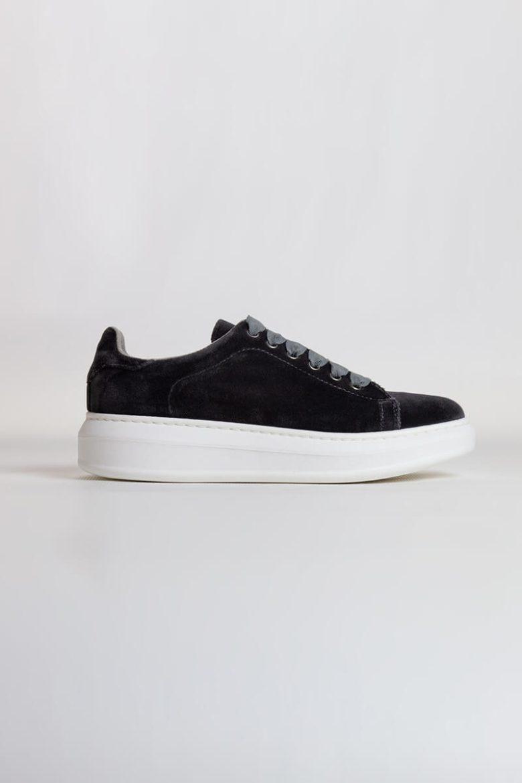Sneakers Terciopelo gris   Miboheme